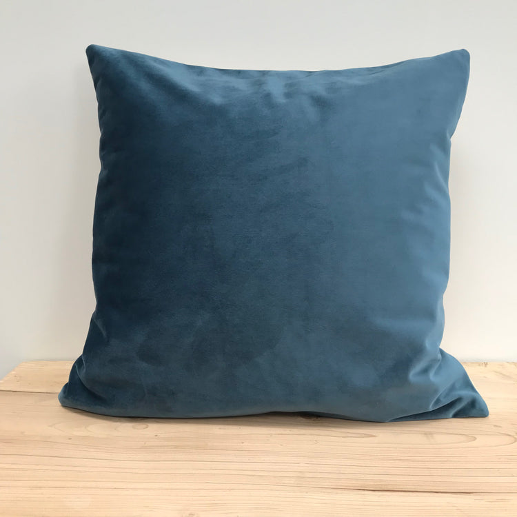 Two-tone Velvet Cushion, Teal Blue & Putty Pink