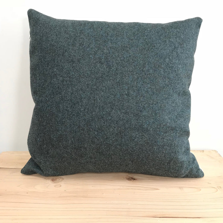 Chevron Wool Cushion, Forest Green