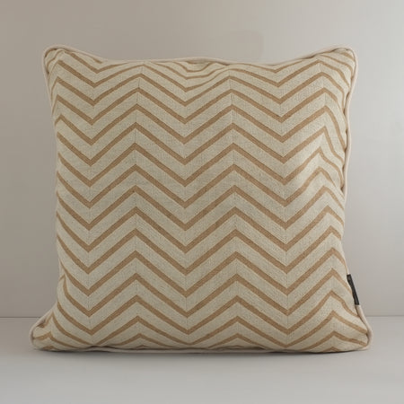 Hand-Embroidered Chevron Cushion, Cream