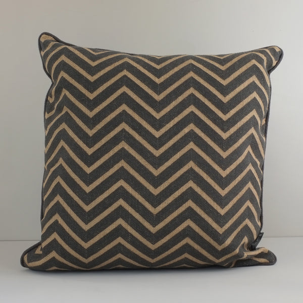 Hand-embroidered Chevron Cushion (grey)