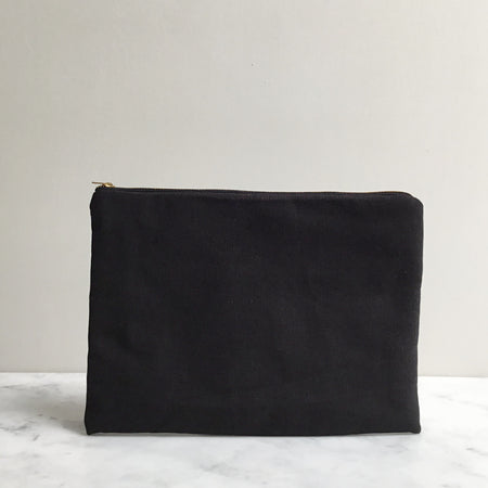 Black Organic Cotton Wash Bag Pouch