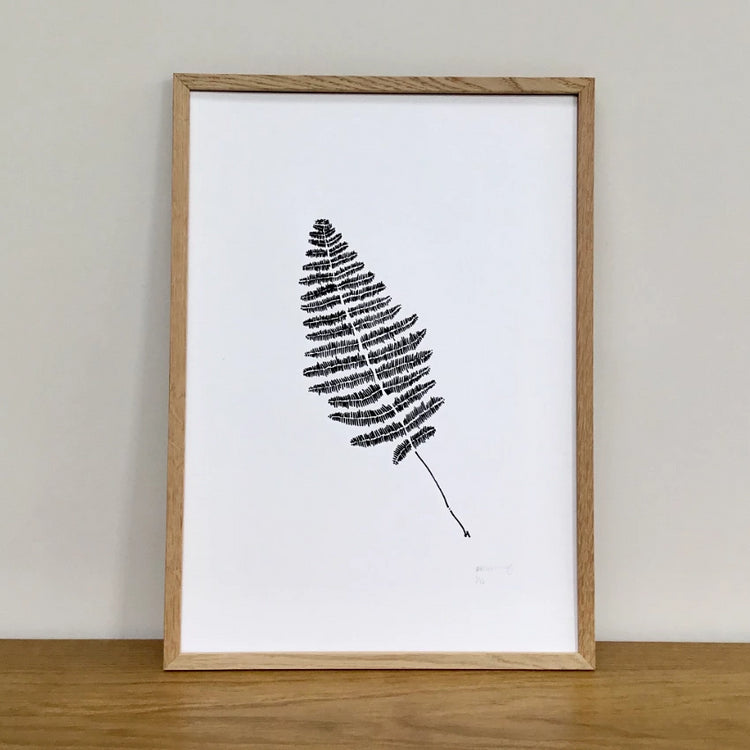 Black and White Botanical Fern Screen Print