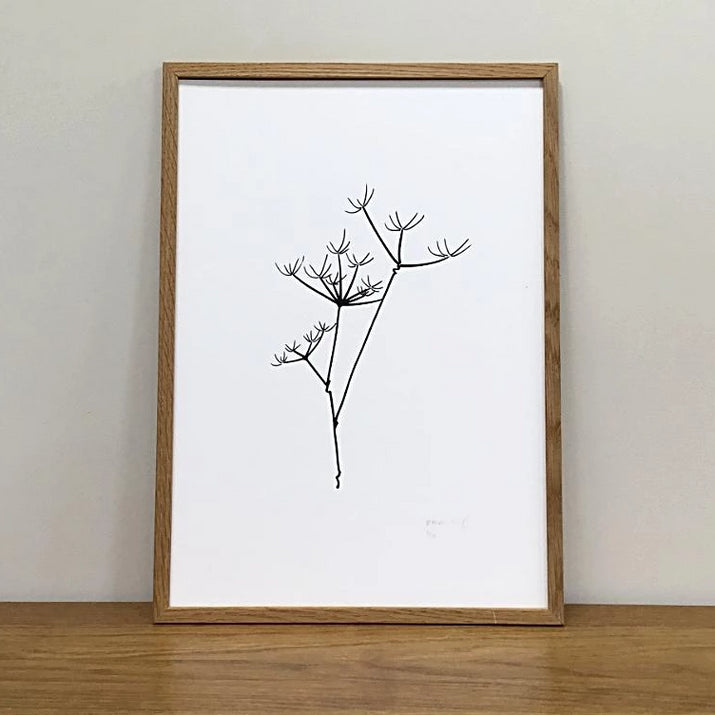 Monochrome Cow Parsley Botanical Print in Wooden Frame