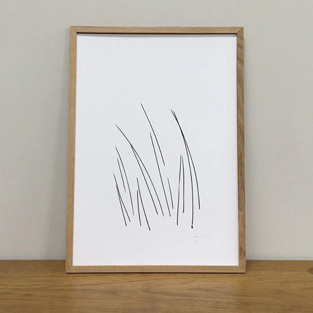Black & White Botanical Grass Screen Print In Wooden Frame