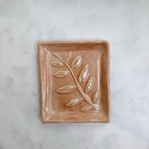 Ceramic Leaf Print Soap Dish, Coral