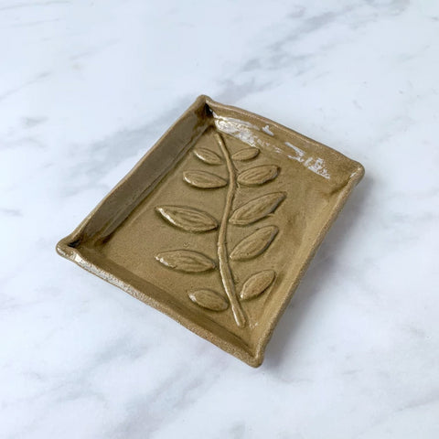 Ceramic Leaf Print Soap Dish, Olive Grey