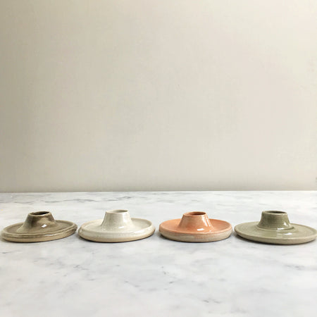 Ceramic Candle Holder, Pink / Grey / Opal / Pale Olive