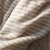 close up of beige and white stripe linen