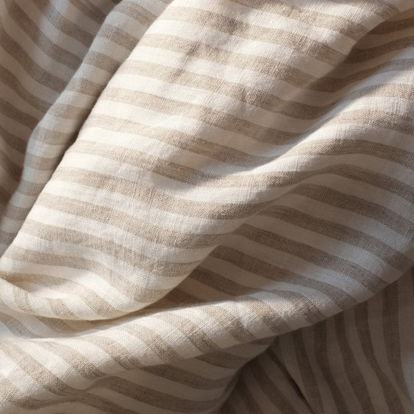 Natural Striped Linen Duvet Cover, Kingsize
