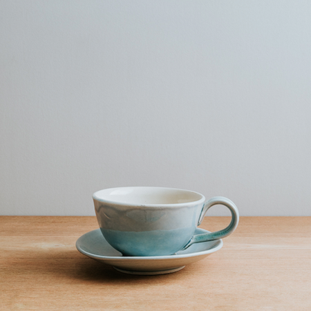 Stoneware Coffee Cup and Saucer, Teal Blue
