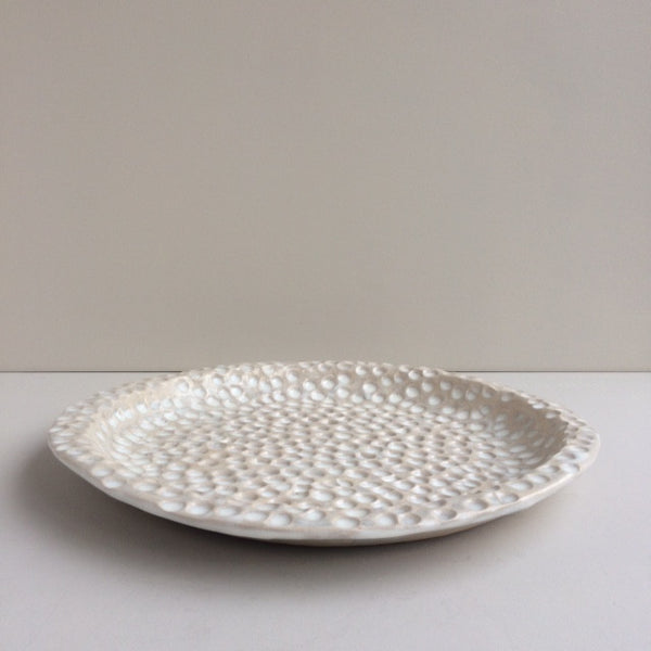 Dimpled Stoneware Serving Platter