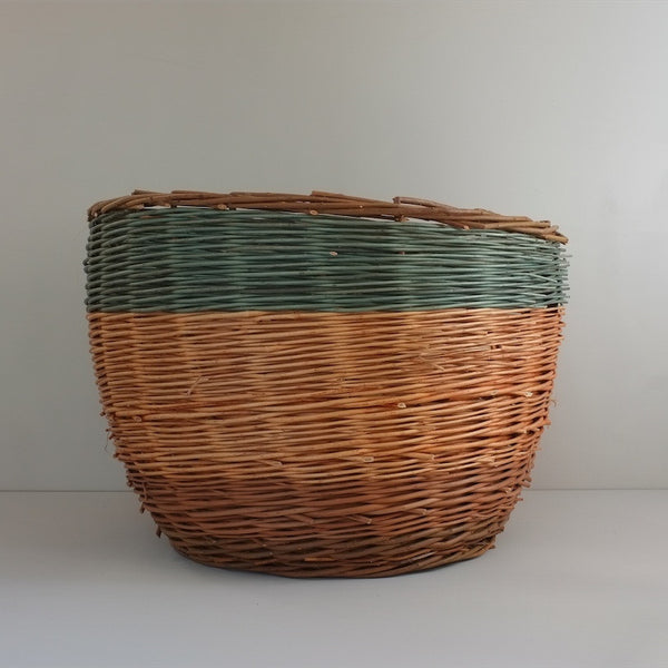 Large Willow Wicker Basket, Teal Stripe