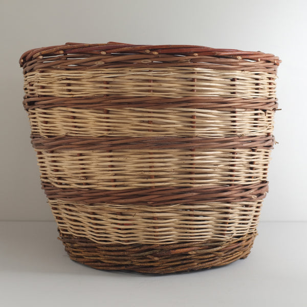 Striped Willow Wicker Basket
