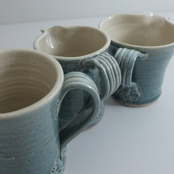hand thrown ceramic jug teal