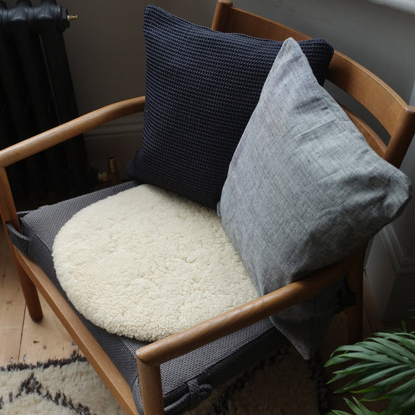 Black organic cotton cushion