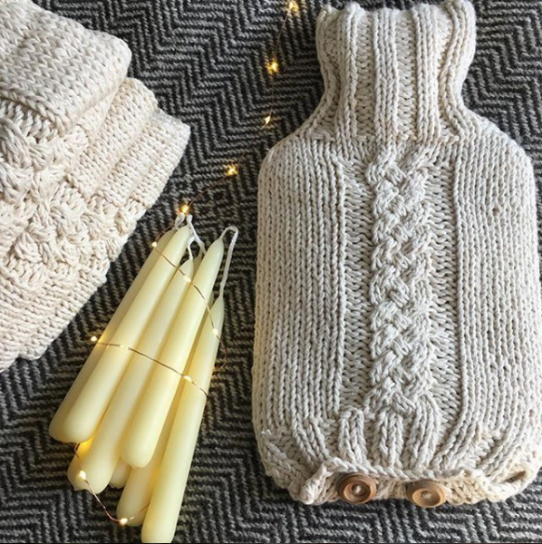 Cotton Hot Water Bottle Cover, Cream