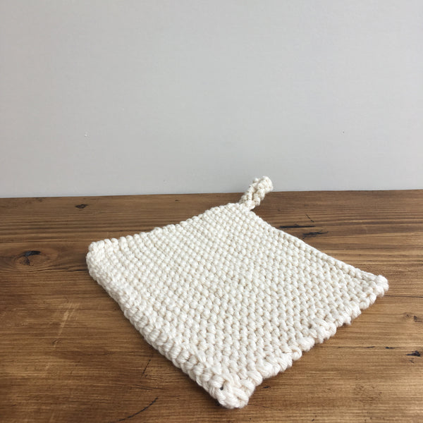 Knitted Cotton Pot Holder, Cream