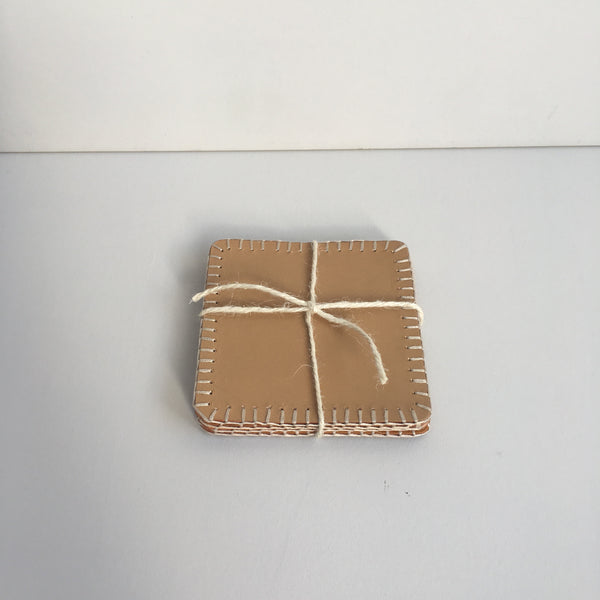 Handmade leather coasters, made in the UK