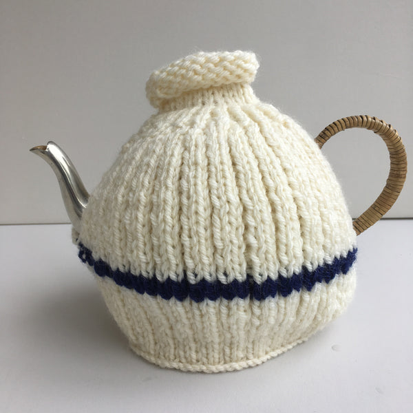Handknitted Tea Cosy, Cream with Navy Stripe