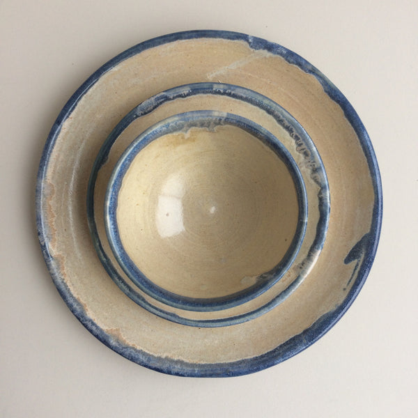 blue rim crockery