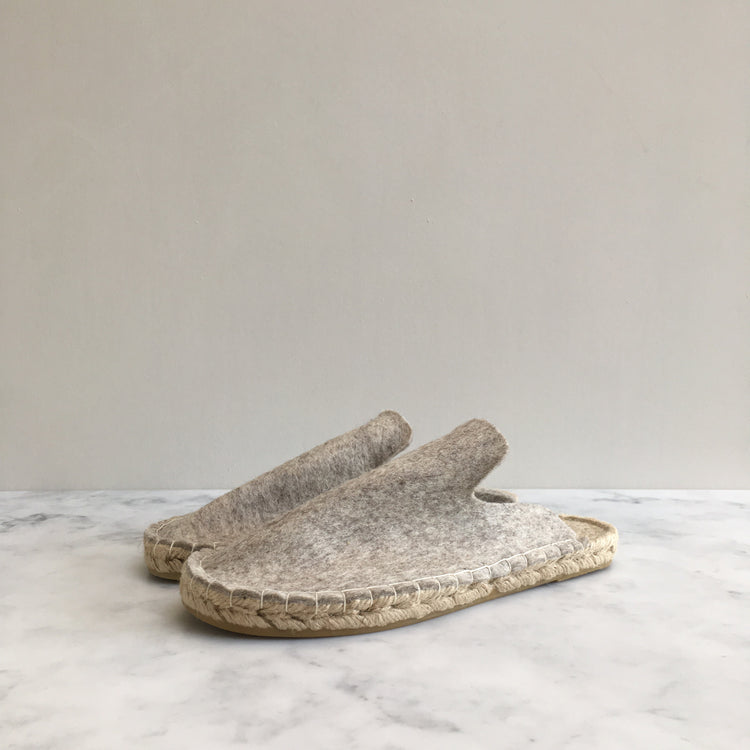 Wool Felt Espadrille Slippers, Cream