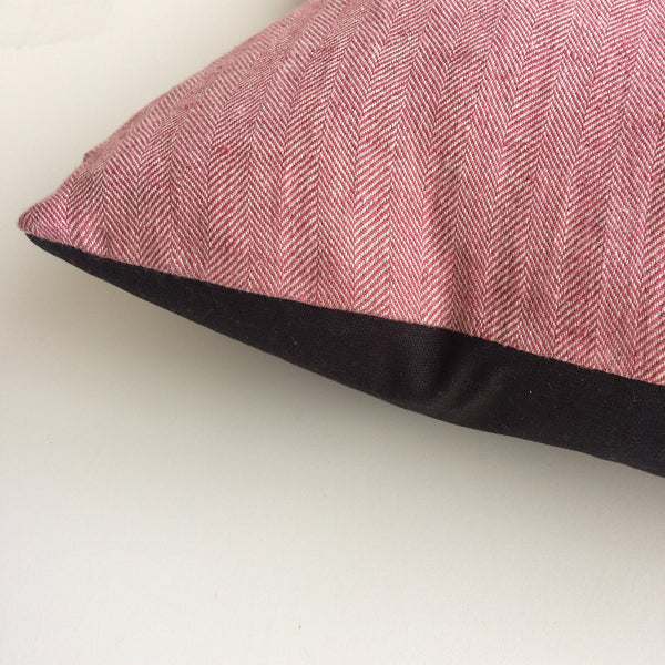Organic Cotton and Linen Two-tone Cushion, Pink