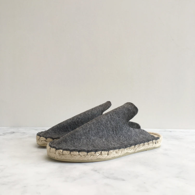 Handmade grey wool felt slippers, made in the UK