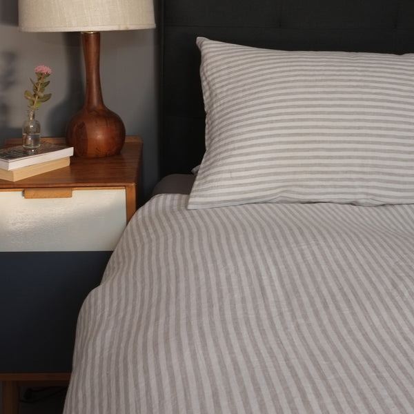 Natural Striped Linen Pillow Case (pair)
