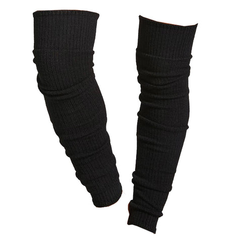 NOIR RIBBED LONG LEG WARMERS