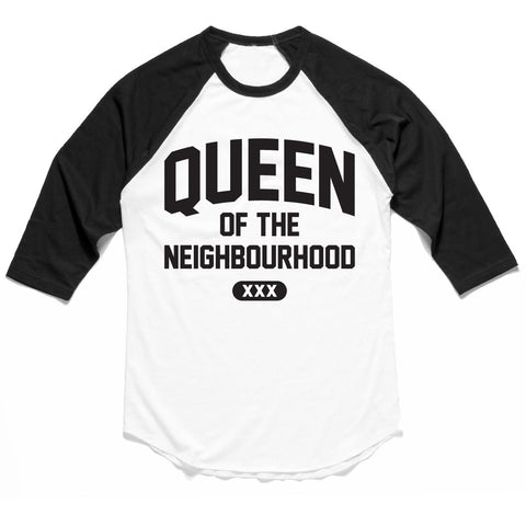 QUEEN OF THE neighbourhood GLITTER RAGLAN