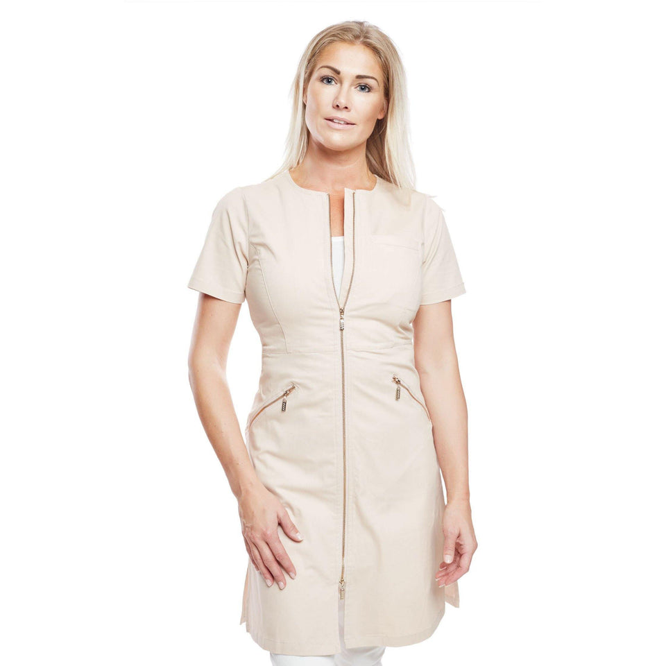 W3 U-NECK ZIP DRESS SHORT-SLEEVE-Workwear Restyle