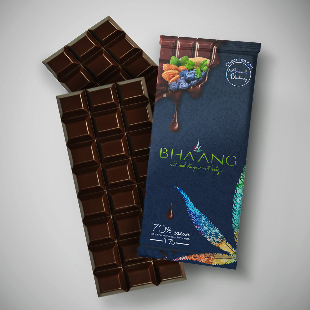 Barra de Chocolate Belga Almond-Blueberry 70% cacao