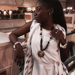 StyleAura - Blue Onyx with Turkish Beads and Meenakari Kundan Reversable Pendant - Model; Omega Mboyo Nsongo Samira