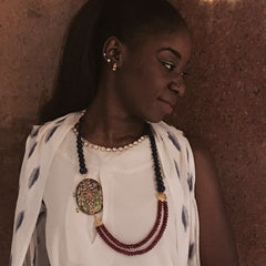 StyleAura - Red and Blue Onyx with Peacock Meenakari Pendant - Model; Omega Mboyo Nsongo Samira