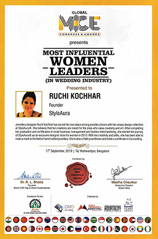 StyleAura - Ruchi Kochhar receives CMO Digital Award Sep 2019 Most Influencial Woman Leader in Wedding Industry Certificate
