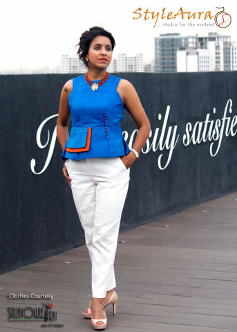 StyleAura Image – Gurmeet in peplum blue top with white pants 2