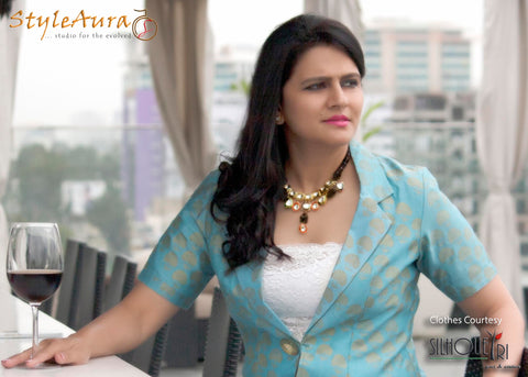 StyleAura Image – Poonam with Light Blue Jacket and white tube top 2