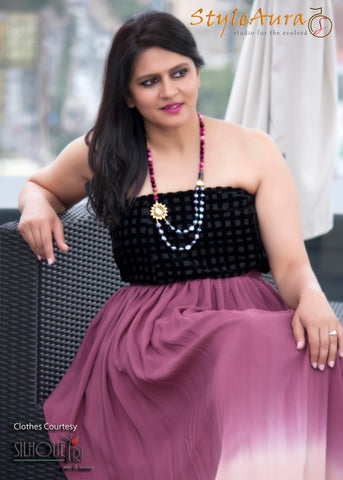StyleAura Image – Poonam with dual shade wine skirt and black top 1