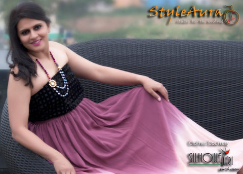 StyleAura Image – Poonam with dual shade wine skirt and black top 2