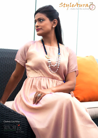 StyleAura Image – Shubha in long maxi dress with long necklace 1