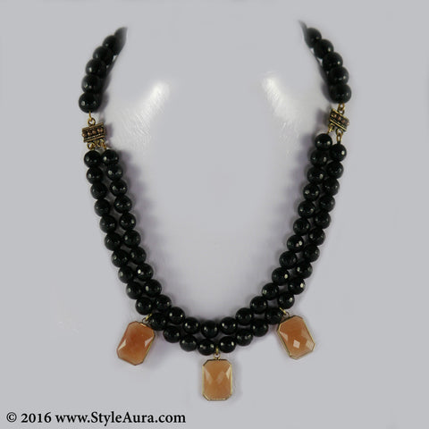 Black Onyx two layer Choker with Carnelian stone pendant in Coper finish 1