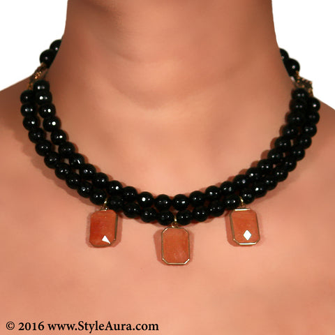 Black Onyx two layer Choker with Carnelian stone pendant in Coper finish 2