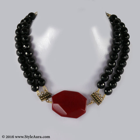 Black Onyx two layer Choker with Red natural Agate with Copper attachments 1
