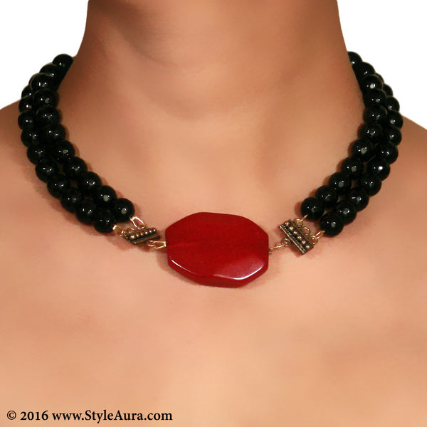Black Onyx two layer Choker with Red natural Agate with Copper attachments 2