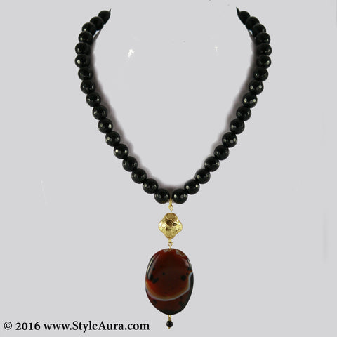 Black Onyx with Gold plated bead and Brown Agate pendant 1