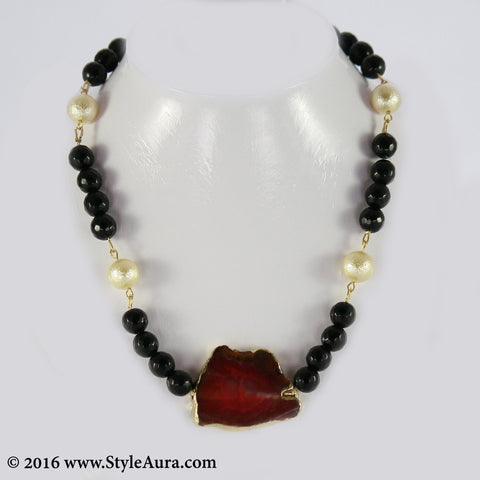 Black and Gold textured Pearl Choker with Red Amber pendant 1