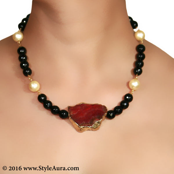 Black and Gold textured Pearl Choker with Red Amber pendant 2