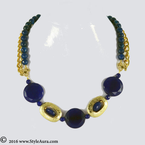 Blue Agates Choker with Onyx and Gold plated chain 1