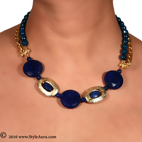 Blue Agates Choker with Onyx and Gold plated chain 2