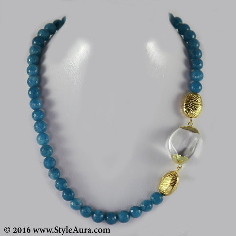 Blue Onyx string with side Quartz pendant and micro plated Gold beads 1